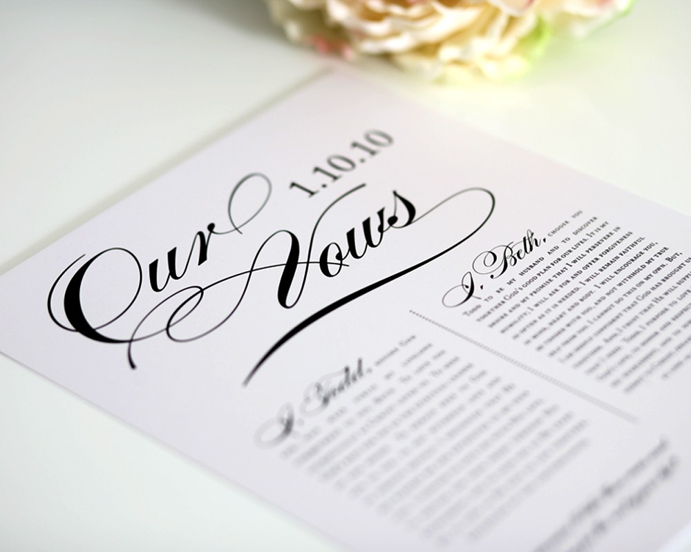 Custom Wedding Vows First Anniversary Gift for Him
