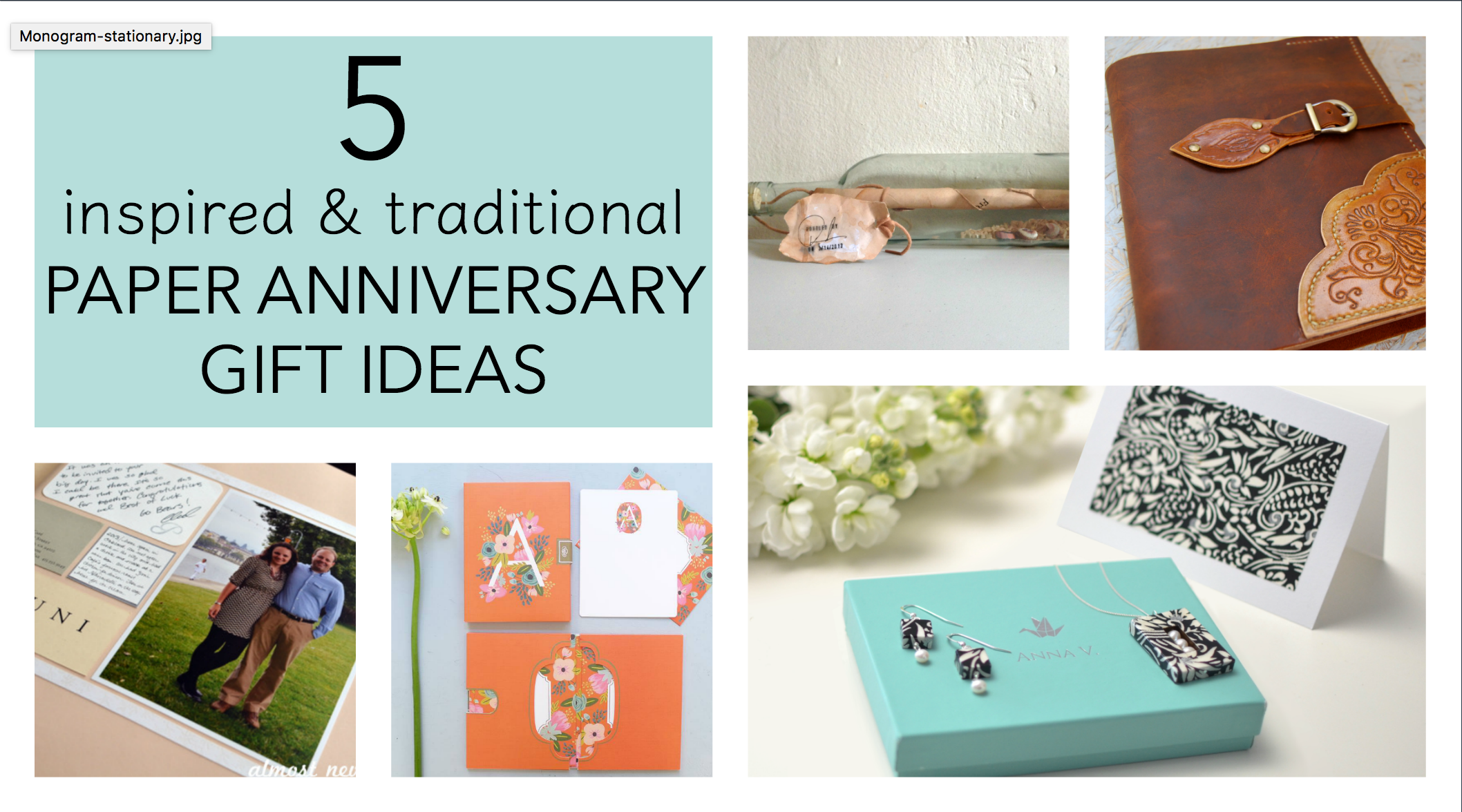 traditional first anniversary gift ideas
